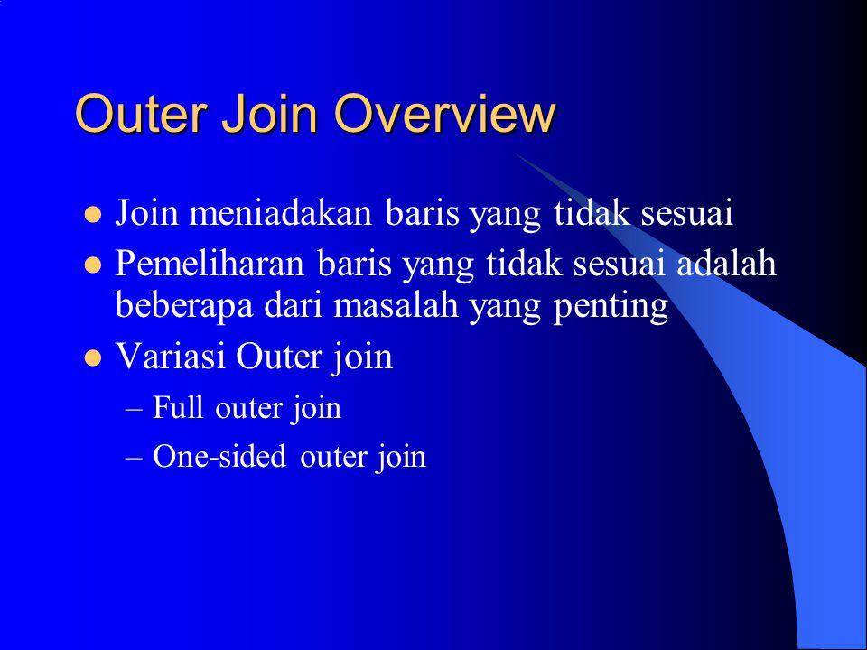 Outer Join Overview Join meniadakan baris yang tidak sesuai