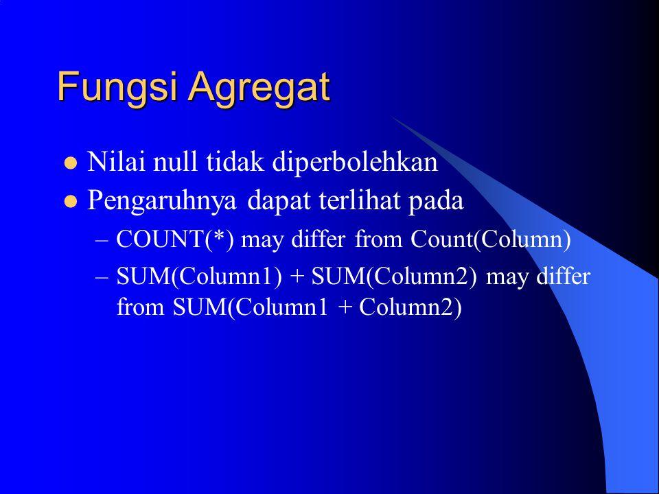 Fungsi Agregat Nilai null tidak diperbolehkan