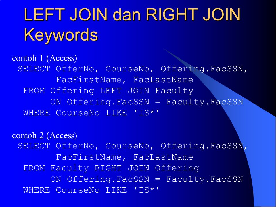 LEFT JOIN dan RIGHT JOIN Keywords