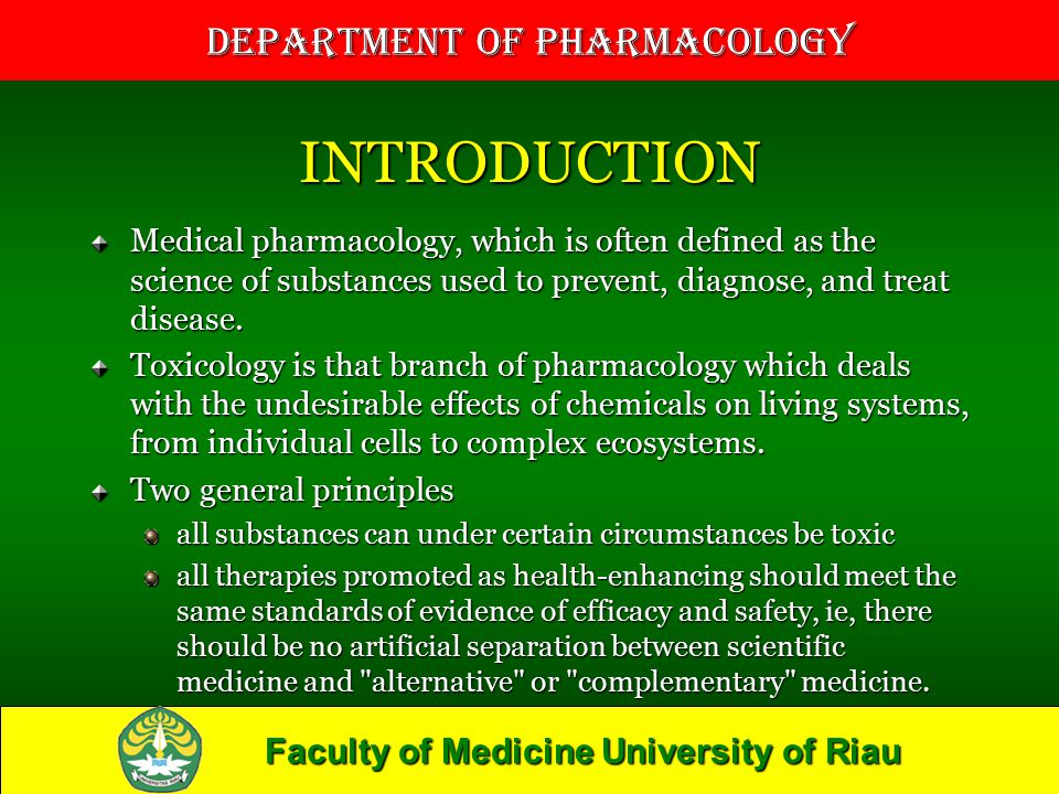 INTRODUCTION Medical pharmacology, which is often defined as the science of substances used to prevent, diagnose, and treat disease.