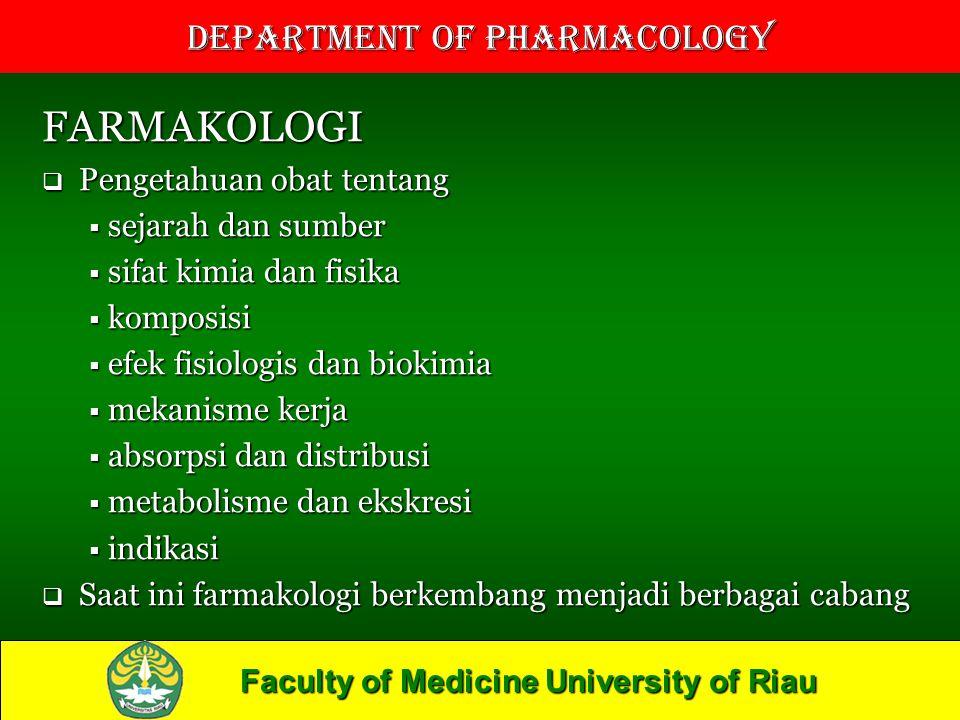 FARMAKOLOGI Pengetahuan obat tentang sejarah dan sumber