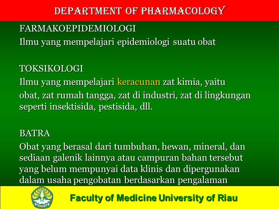 FARMAKOEPIDEMIOLOGI Ilmu yang mempelajari epidemiologi suatu obat. TOKSIKOLOGI. Ilmu yang mempelajari keracunan zat kimia, yaitu.