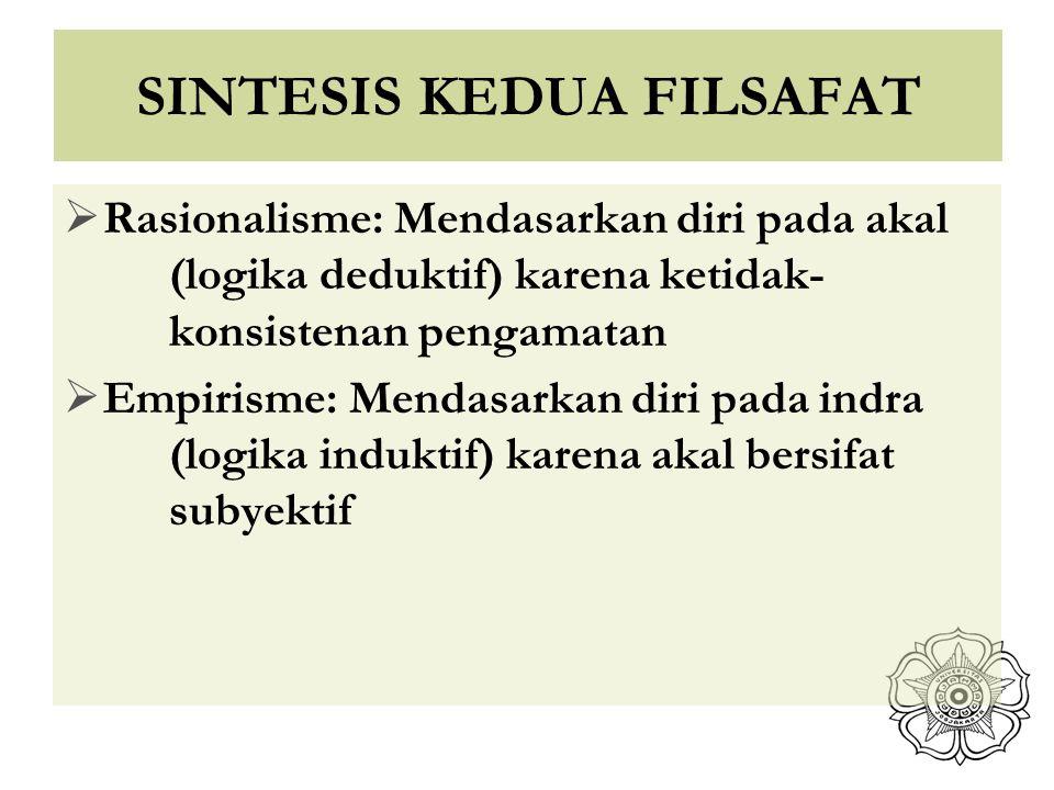 SINTESIS KEDUA FILSAFAT