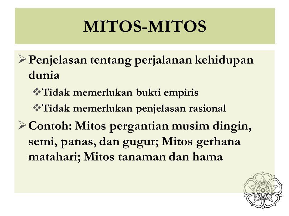 MITOS-MITOS Penjelasan tentang perjalanan kehidupan dunia