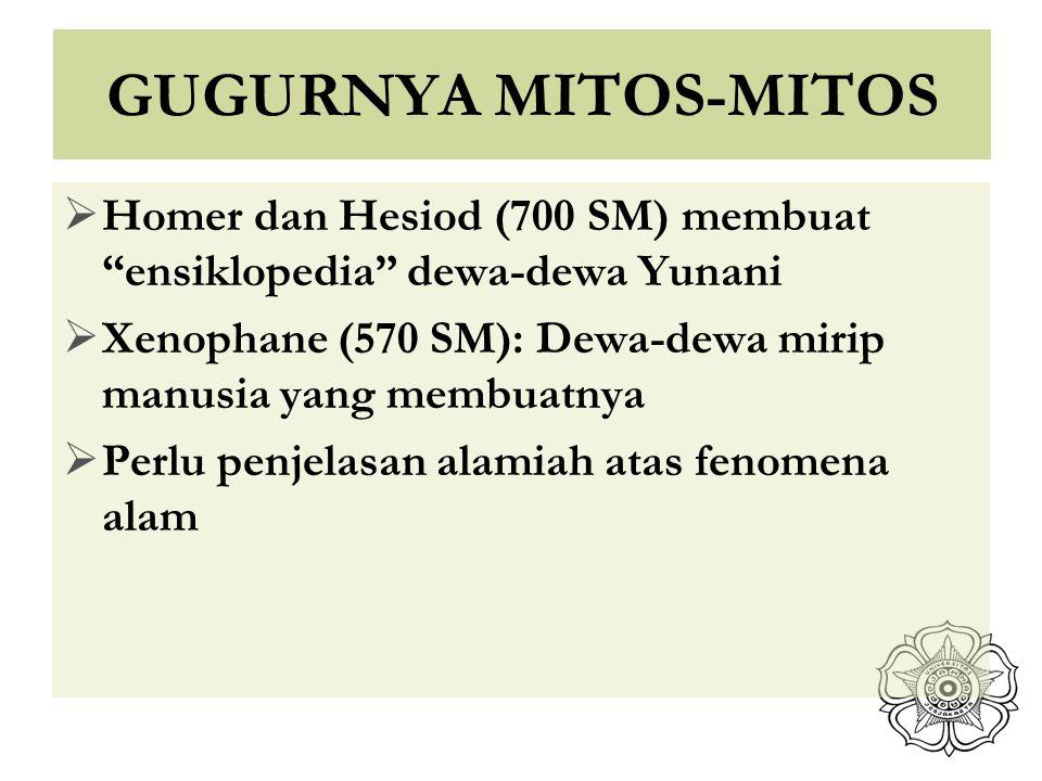 GUGURNYA MITOS-MITOS Homer dan Hesiod (700 SM) membuat ensiklopedia dewa-dewa Yunani. Xenophane (570 SM): Dewa-dewa mirip manusia yang membuatnya.