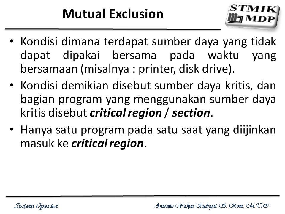 Mutual Exclusion Kondisi dimana terdapat sumber daya yang tidak dapat dipakai bersama pada waktu yang bersamaan (misalnya : printer, disk drive).