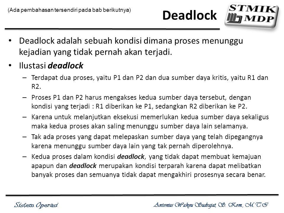 Deadlock (Ada pembahasan tersendiri pada bab berikutnya)
