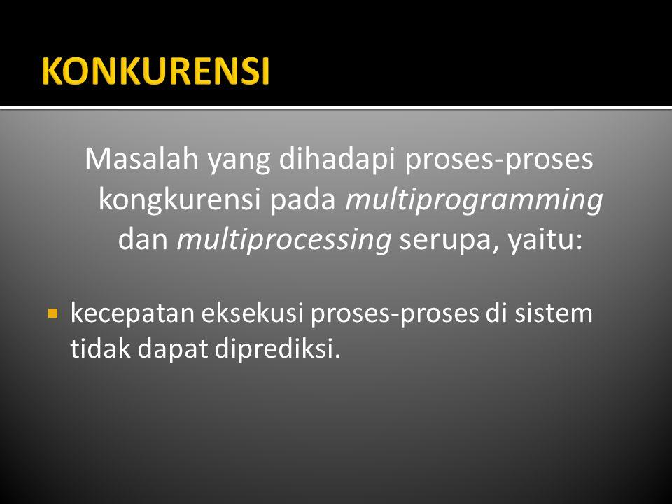 KONKURENSI Masalah yang dihadapi proses-proses kongkurensi pada multiprogramming dan multiprocessing serupa, yaitu:
