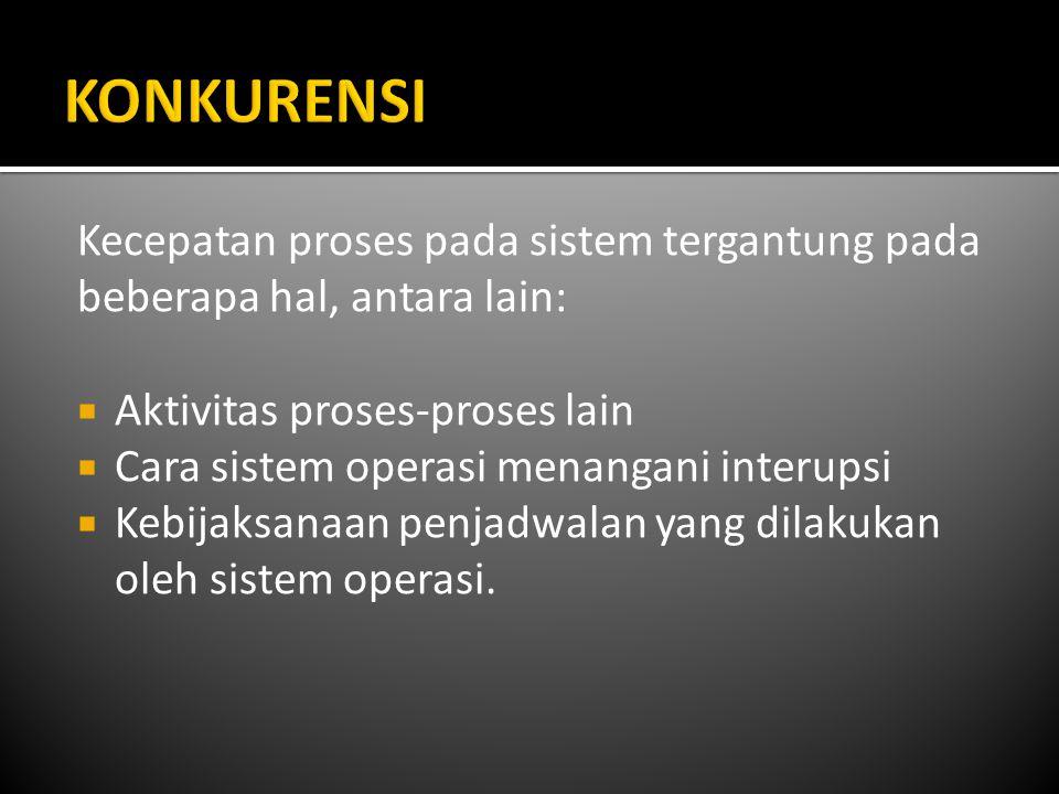KONKURENSI Kecepatan proses pada sistem tergantung pada