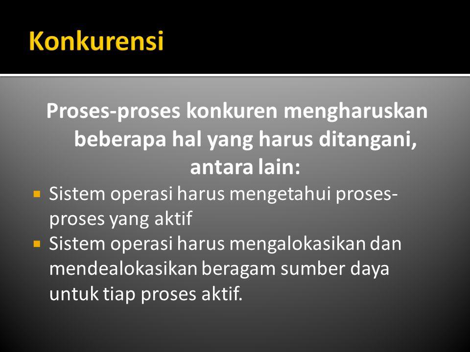 Konkurensi Proses-proses konkuren mengharuskan beberapa hal yang harus ditangani, antara lain:
