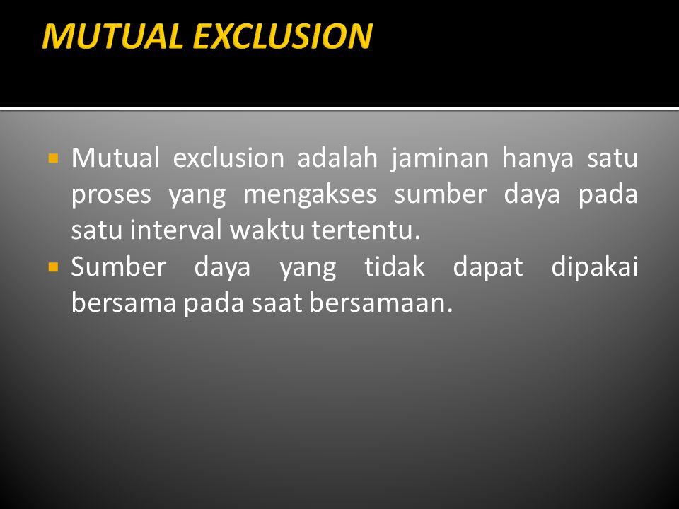 MUTUAL EXCLUSION Mutual exclusion adalah jaminan hanya satu proses yang mengakses sumber daya pada satu interval waktu tertentu.