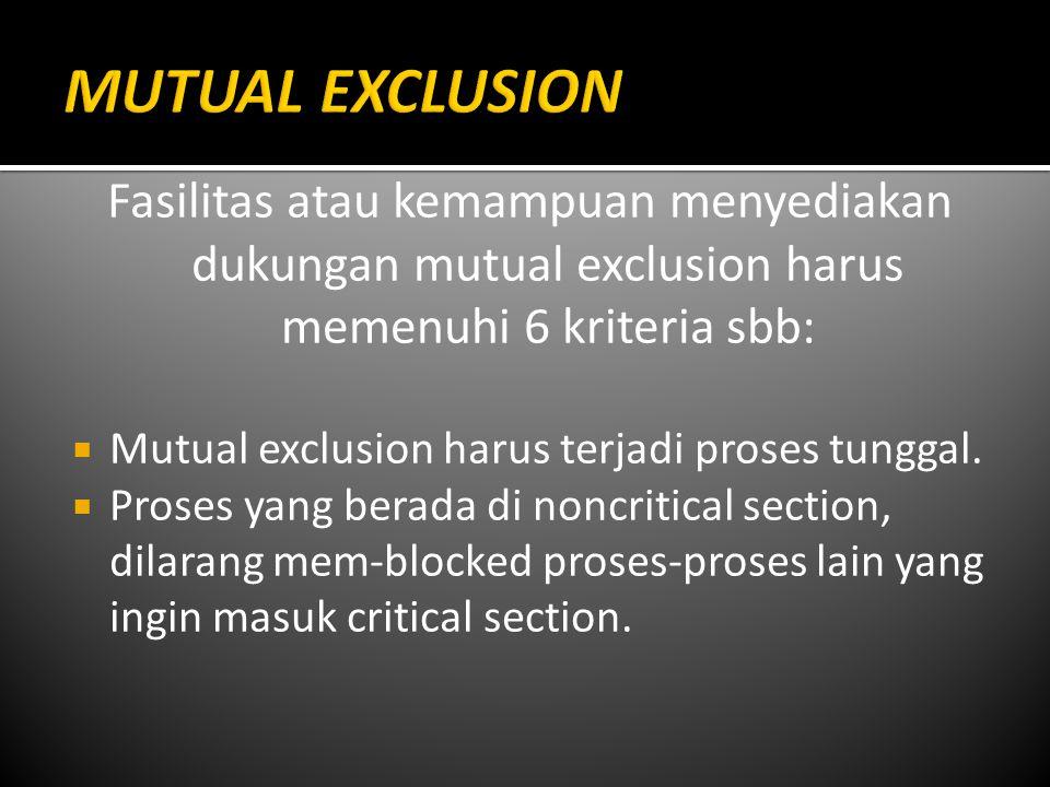 MUTUAL EXCLUSION Fasilitas atau kemampuan menyediakan dukungan mutual exclusion harus memenuhi 6 kriteria sbb: