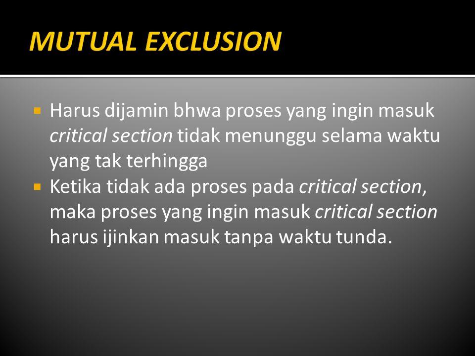 MUTUAL EXCLUSION Harus dijamin bhwa proses yang ingin masuk critical section tidak menunggu selama waktu yang tak terhingga.
