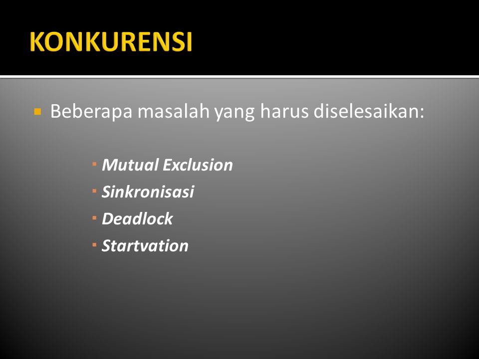 KONKURENSI Beberapa masalah yang harus diselesaikan: Mutual Exclusion