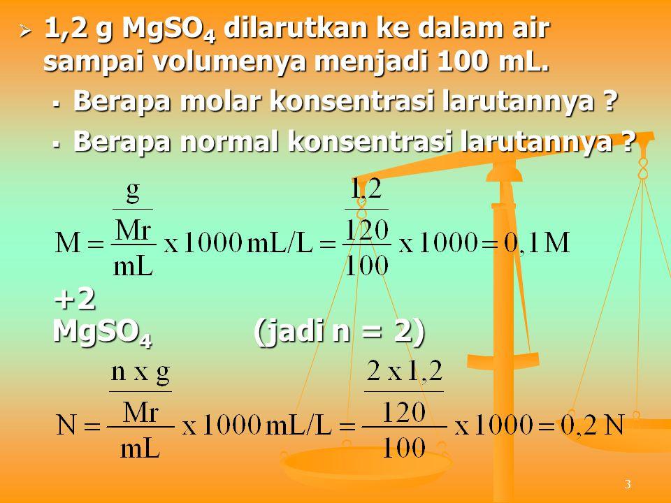 1,2 g MgSO4 dilarutkan ke dalam air sampai volumenya menjadi 100 mL.