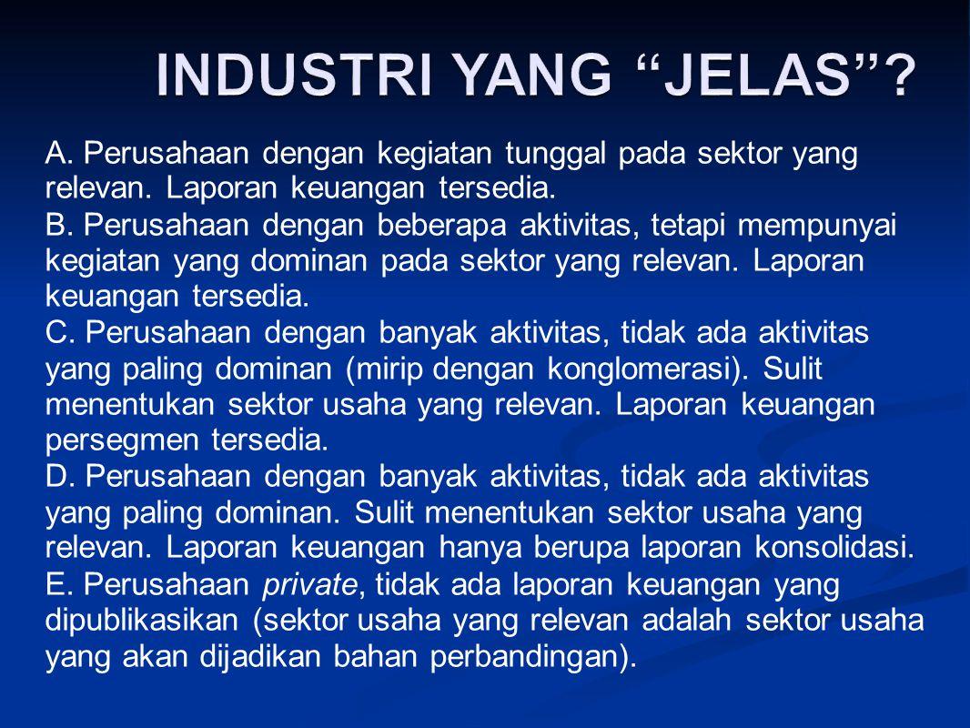 INDUSTRI YANG JELAS A. Perusahaan dengan kegiatan tunggal pada sektor yang relevan. Laporan keuangan tersedia.