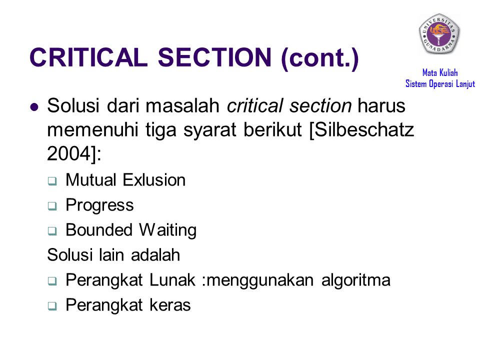 CRITICAL SECTION (cont.)