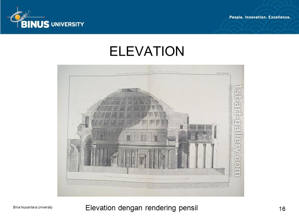 ELEVATION Elevation dengan rendering pensil Bina Nusantara University