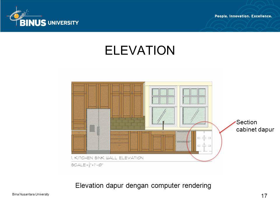 ELEVATION Elevation dapur dengan computer rendering
