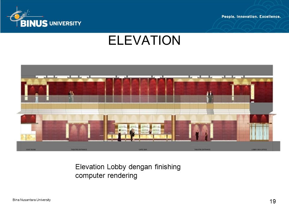 ELEVATION Elevation Lobby dengan finishing computer rendering