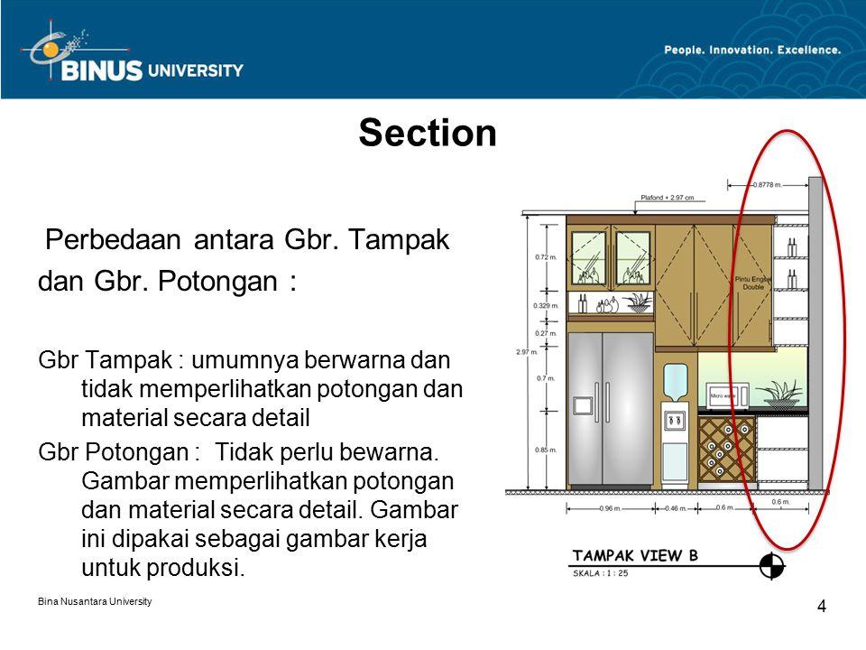 Section dan Gbr. Potongan : Perbedaan antara Gbr. Tampak
