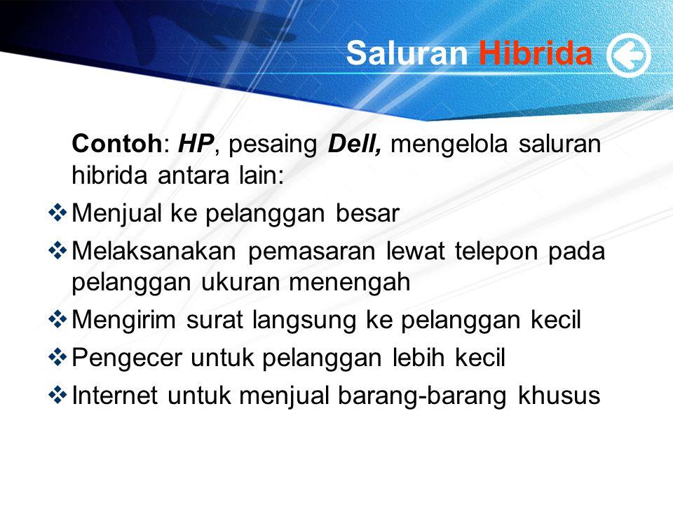 Saluran Hibrida Contoh: HP, pesaing Dell, mengelola saluran hibrida antara lain: Menjual ke pelanggan besar.