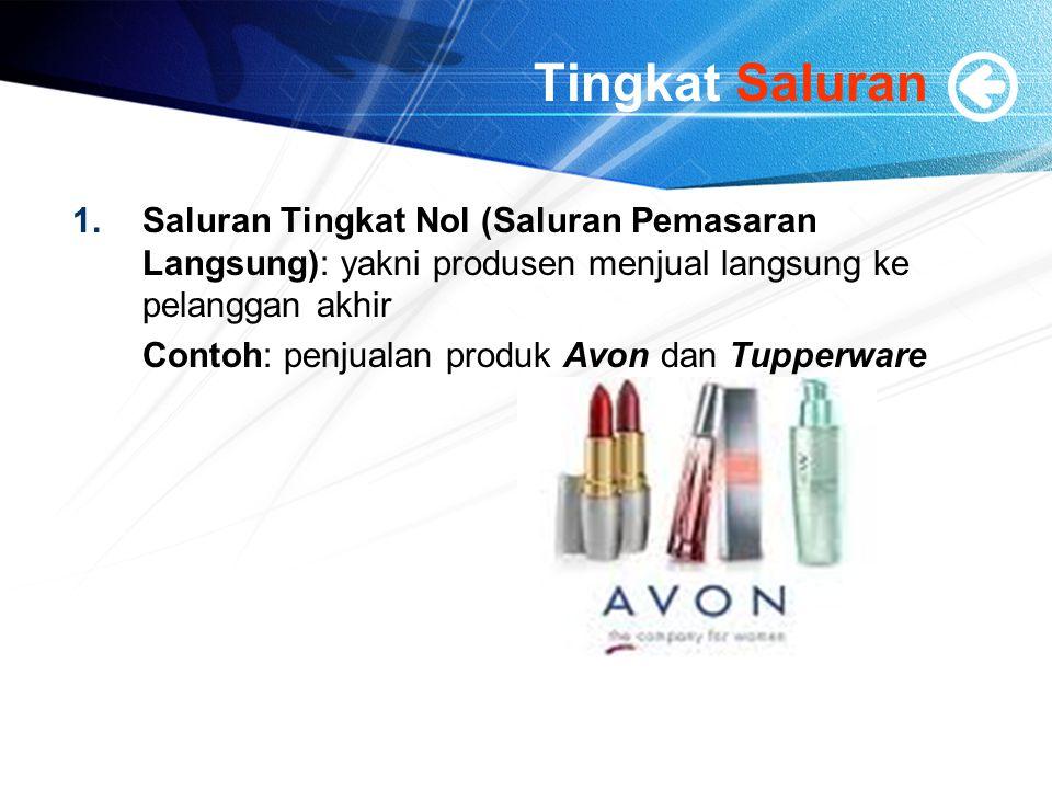 Tingkat Saluran Saluran Tingkat Nol (Saluran Pemasaran Langsung): yakni produsen menjual langsung ke pelanggan akhir.