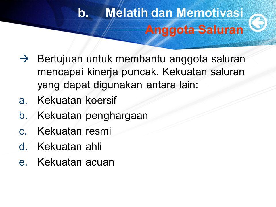 b. Melatih dan Memotivasi Anggota Saluran