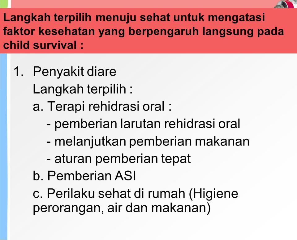 a. Terapi rehidrasi oral : - pemberian larutan rehidrasi oral