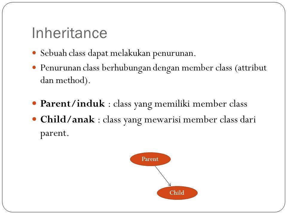 Inheritance Parent/induk : class yang memiliki member class