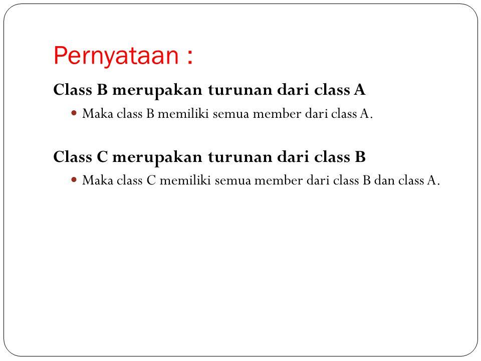 Pernyataan : Class B merupakan turunan dari class A