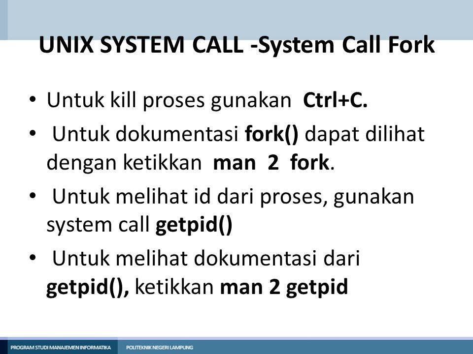 UNIX SYSTEM CALL -System Call Fork
