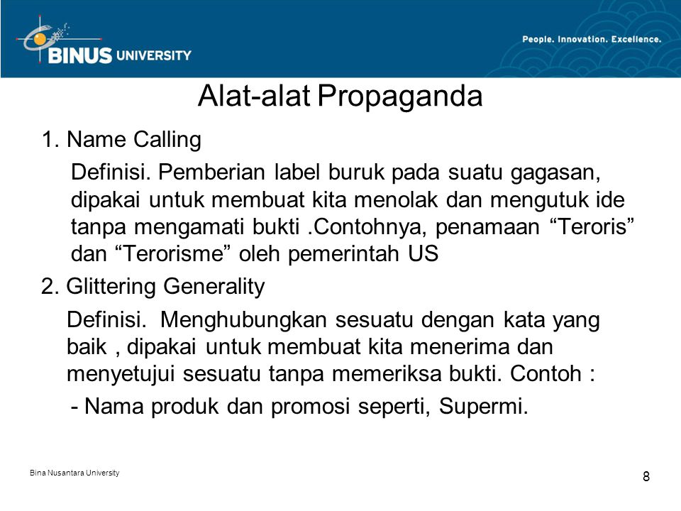 Alat-alat Propaganda Name Calling