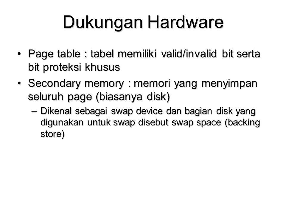 Dukungan Hardware Page table : tabel memiliki valid/invalid bit serta bit proteksi khusus.
