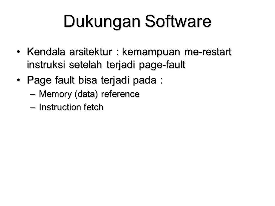 Dukungan Software Kendala arsitektur : kemampuan me-restart instruksi setelah terjadi page-fault. Page fault bisa terjadi pada :