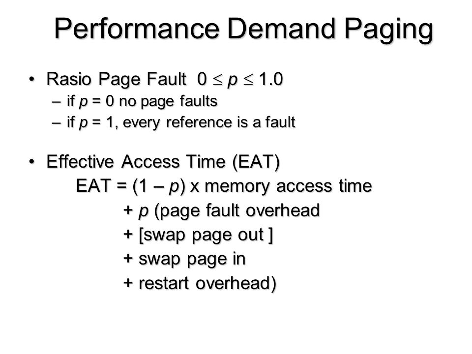 Performance Demand Paging
