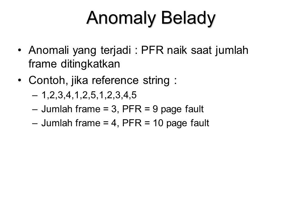 Anomaly Belady Anomali yang terjadi : PFR naik saat jumlah frame ditingkatkan. Contoh, jika reference string :