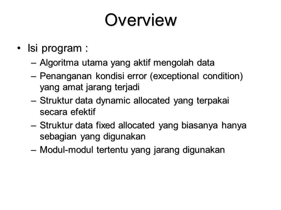 Overview Isi program : Algoritma utama yang aktif mengolah data