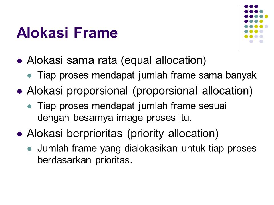 Alokasi Frame Alokasi sama rata (equal allocation)