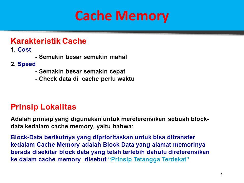 Cache Memory Karakteristik Cache Prinsip Lokalitas 1. Cost