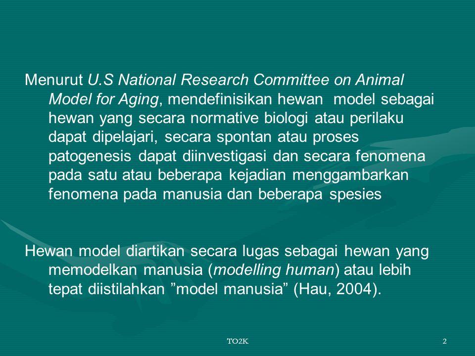 Menurut U.S National Research Committee on Animal Model for Aging, mendefinisikan hewan model sebagai hewan yang secara normative biologi atau perilaku dapat dipelajari, secara spontan atau proses patogenesis dapat diinvestigasi dan secara fenomena pada satu atau beberapa kejadian menggambarkan fenomena pada manusia dan beberapa spesies