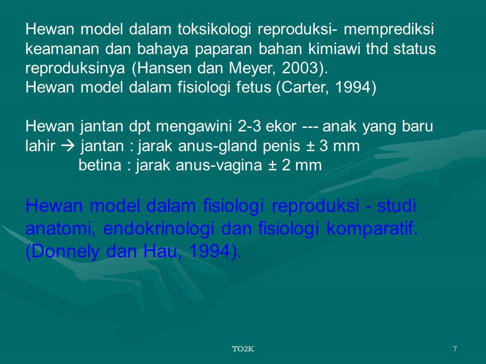 Hewan model dalam toksikologi reproduksi- memprediksi keamanan dan bahaya paparan bahan kimiawi thd status reproduksinya (Hansen dan Meyer, 2003). Hewan model dalam fisiologi fetus (Carter, 1994)