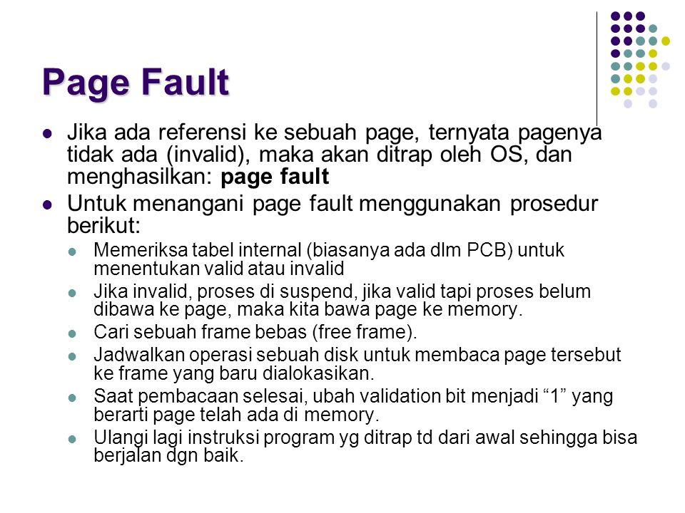 Page Fault Jika ada referensi ke sebuah page, ternyata pagenya tidak ada (invalid), maka akan ditrap oleh OS, dan menghasilkan: page fault.