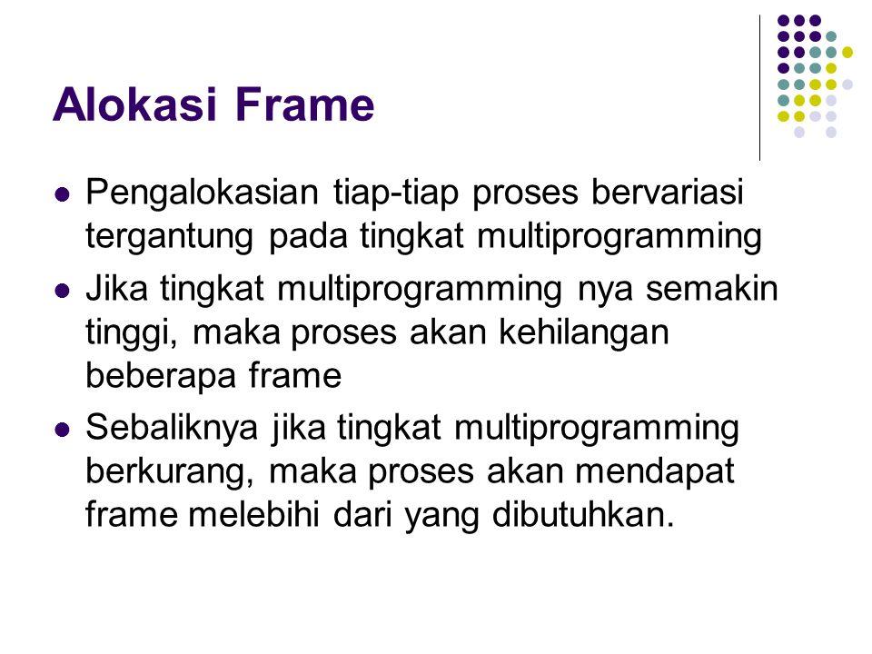 Alokasi Frame Pengalokasian tiap-tiap proses bervariasi tergantung pada tingkat multiprogramming.