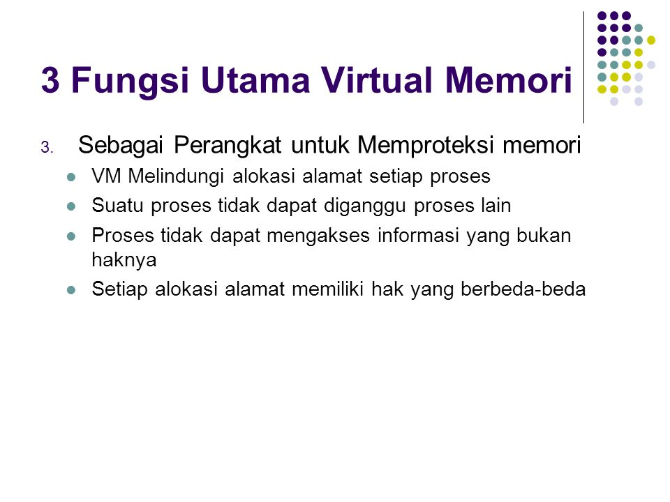 3 Fungsi Utama Virtual Memori