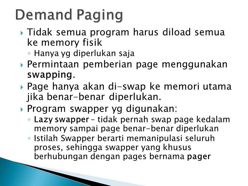 Demand Paging Tidak semua program harus diload semua ke memory fisik