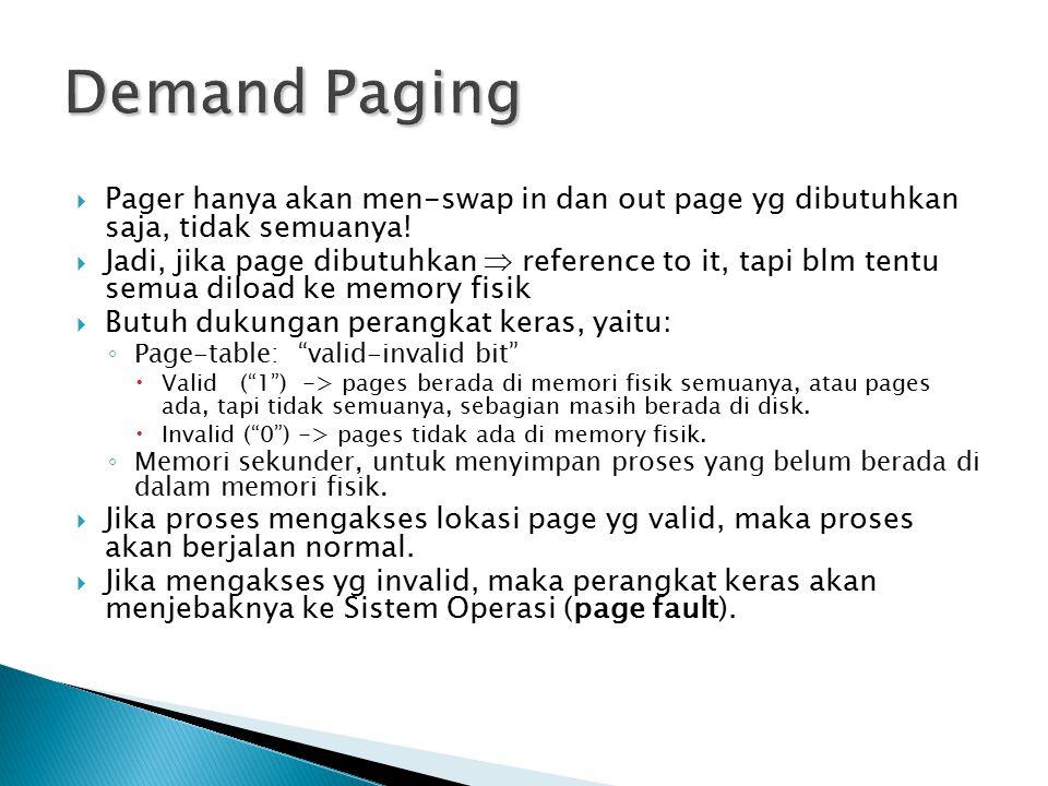 Demand Paging Pager hanya akan men-swap in dan out page yg dibutuhkan saja, tidak semuanya!