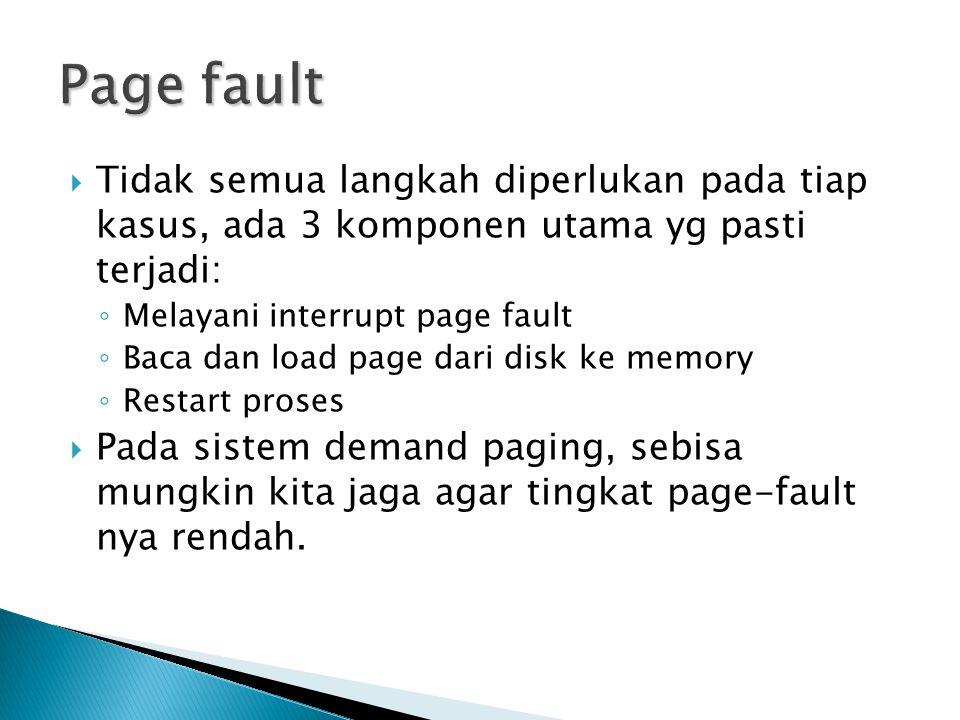 Page fault Tidak semua langkah diperlukan pada tiap kasus, ada 3 komponen utama yg pasti terjadi: