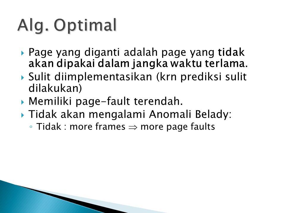 Alg. Optimal Page yang diganti adalah page yang tidak akan dipakai dalam jangka waktu terlama.