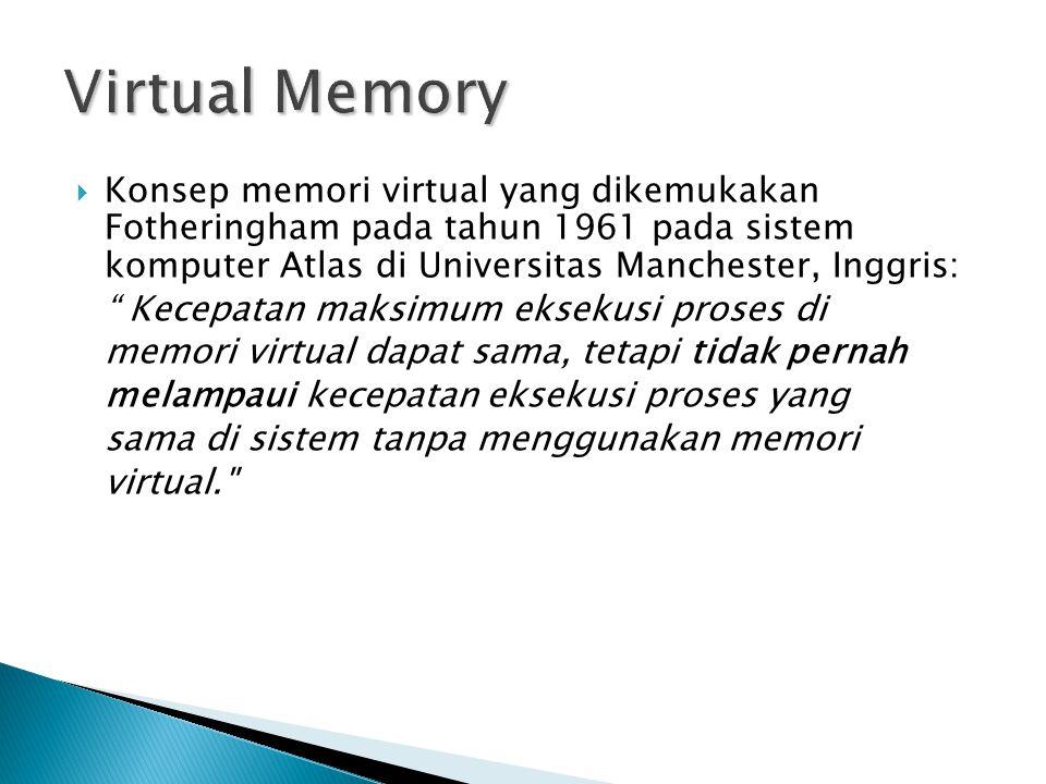 Virtual Memory Konsep memori virtual yang dikemukakan Fotheringham pada tahun 1961 pada sistem komputer Atlas di Universitas Manchester, Inggris: